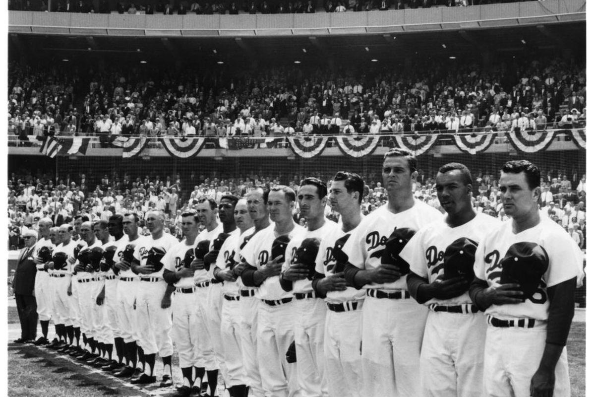 The 1962 Dodgers lineup at opening day at Dodger Stadium on April 10, 1962 (<em>Photo: LA Dodgers</em>)