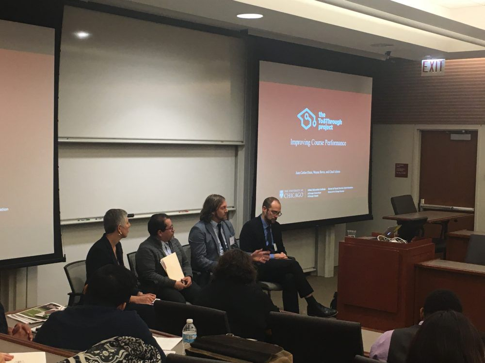 Sarah Duncan, left, of the Network for College Success, moderates a panel on grades at a conference Oct. 11, on findings of the To & Through Project. Also appearing on the panel at the University of Chicago are Juan Carlos Ocon, Chad Adams, and Wayne Bevis.