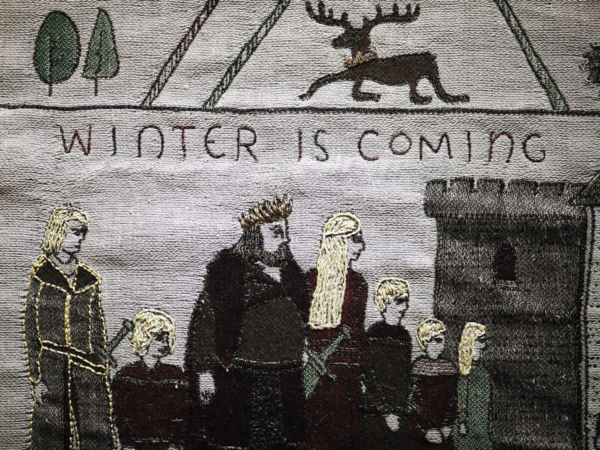 """A detail from the """"Game of Thrones"""" tapestry, temporarily on display in Bayeux, France, the Normandy town made famous for the 11th century Bayeux tapestry chronicling the Norman conquest of England."""