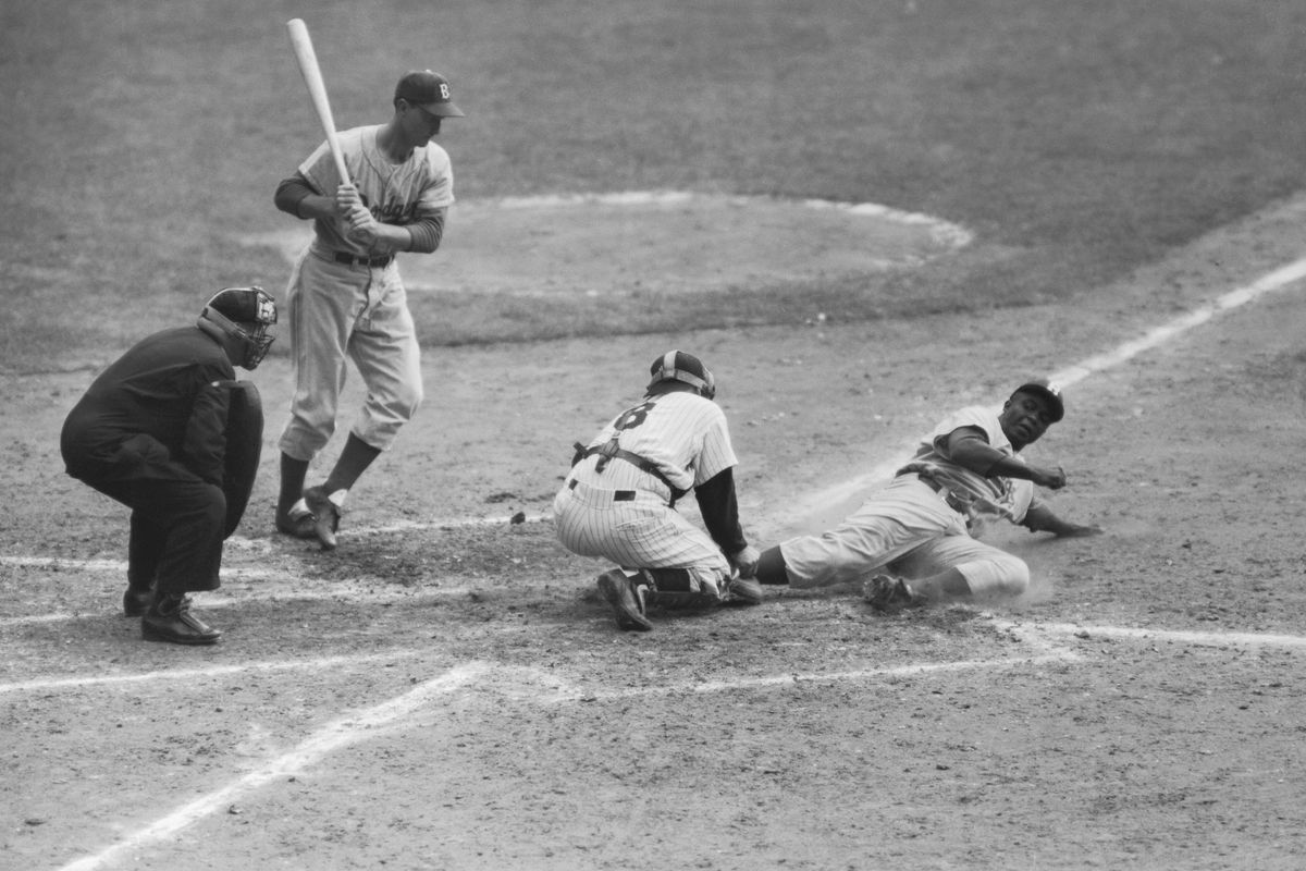 Jackie Robinson Sliding Home During 1955 World Series