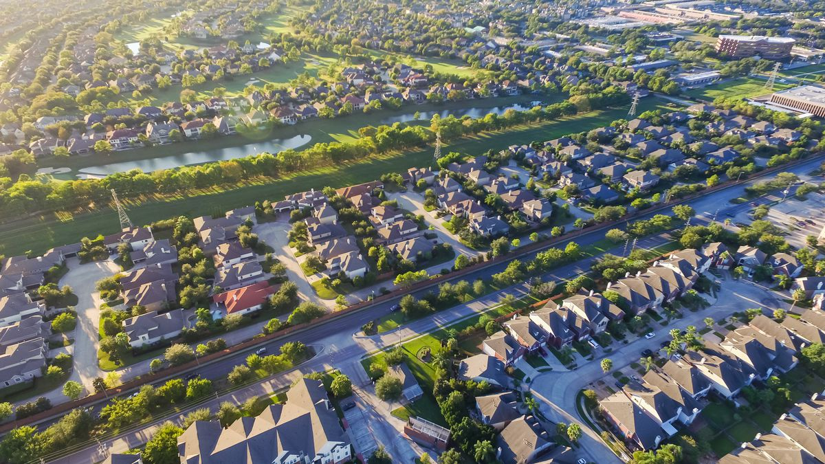 An aerial view of a suburban housing development outside downtown Houston.
