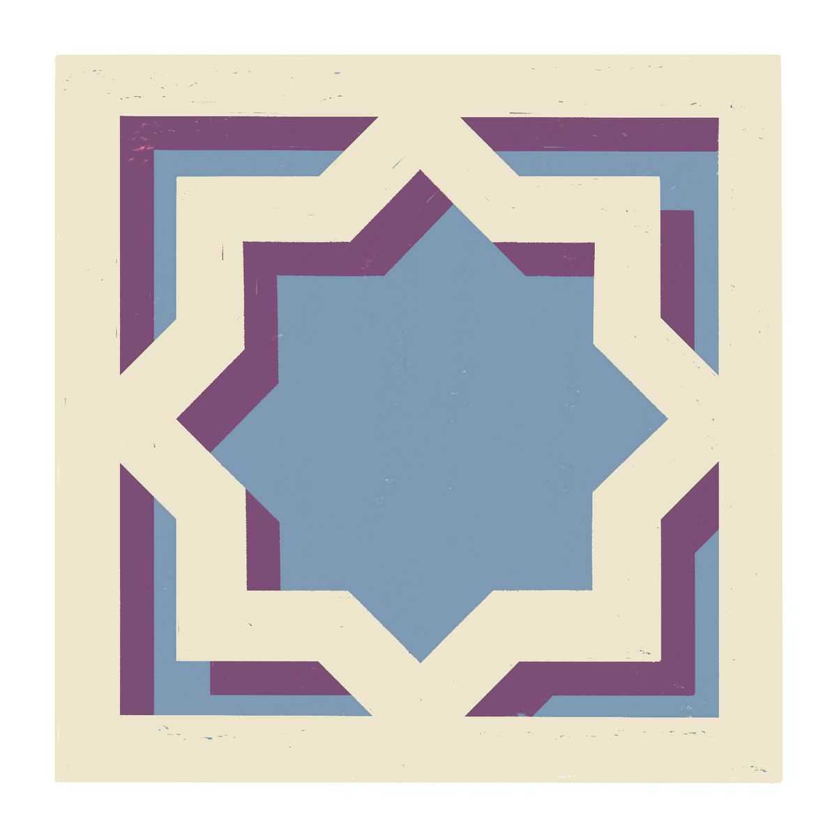A close up of a hollow square tile, within the square there is a symmetric 8 point star meeting the square on it's inner sides. Illustration.