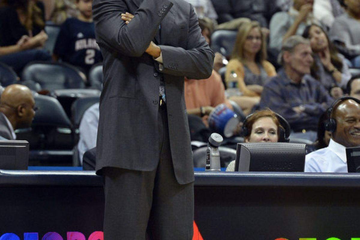 Mar 21, 2012; Atlanta, GA, USA; Cleveland Cavaliers head coach Byron Scott reacts to play against the Atlanta Hawks during the first half at Philips Arena. Mandatory Credit: Paul Abell-US PRESSWIRE
