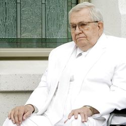 Elder Boyd K. Packer during the cornerstone ceremony. About 200 take part in the cornerstone ceremony at the Brigham City Temple prior to the dedication Sunday, Sept. 23, 2012.