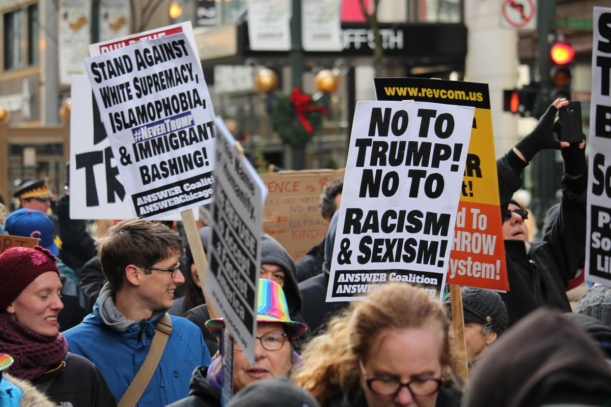 Protestors in Chicago march against President-elect Trump on November 19