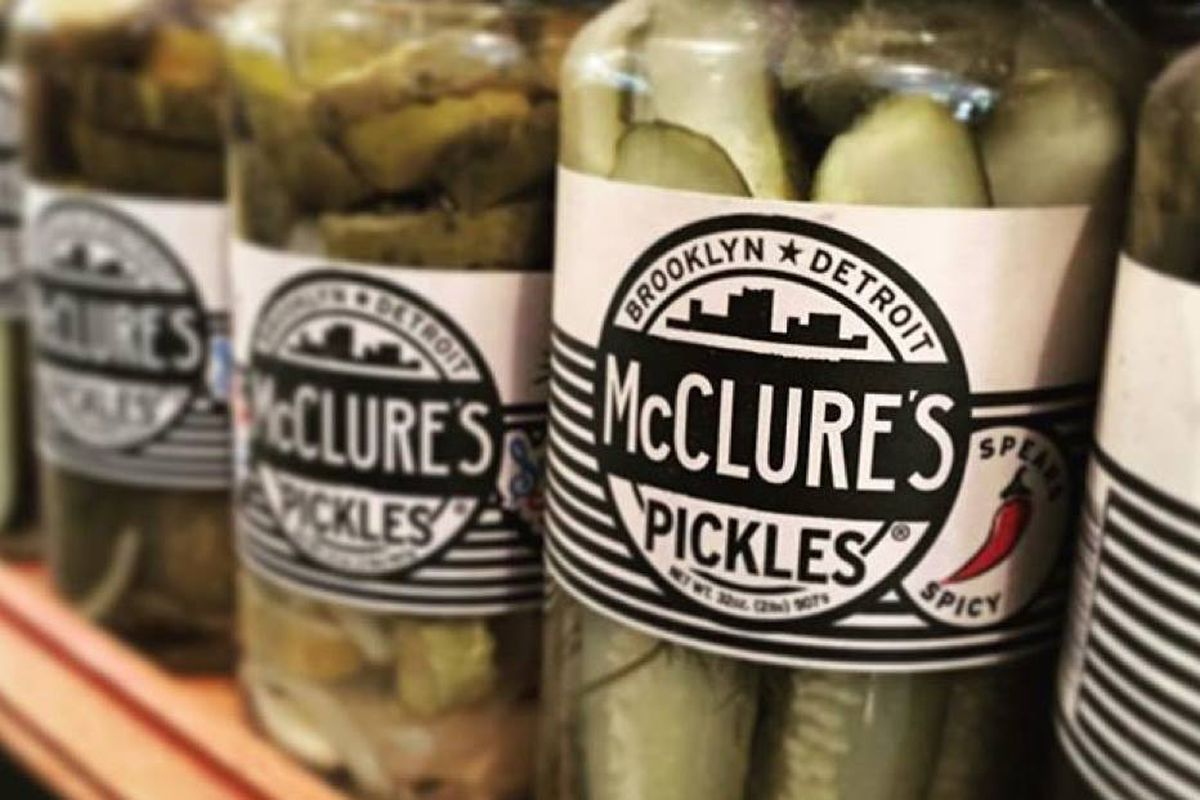 jars of pickles on a shelf
