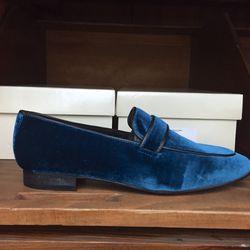 Teal Vinny velvet loafer, $40 (were $286)