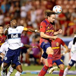 Real Salt Lake midfielder Nick Besler (13) isn't able to get the angle on a header in front of the goal as Real Salt Lake and Vancouver FC play at Rio Tinto Stadium in Sandy on Wednesday, July 7, 2021. RSL won 4-0.