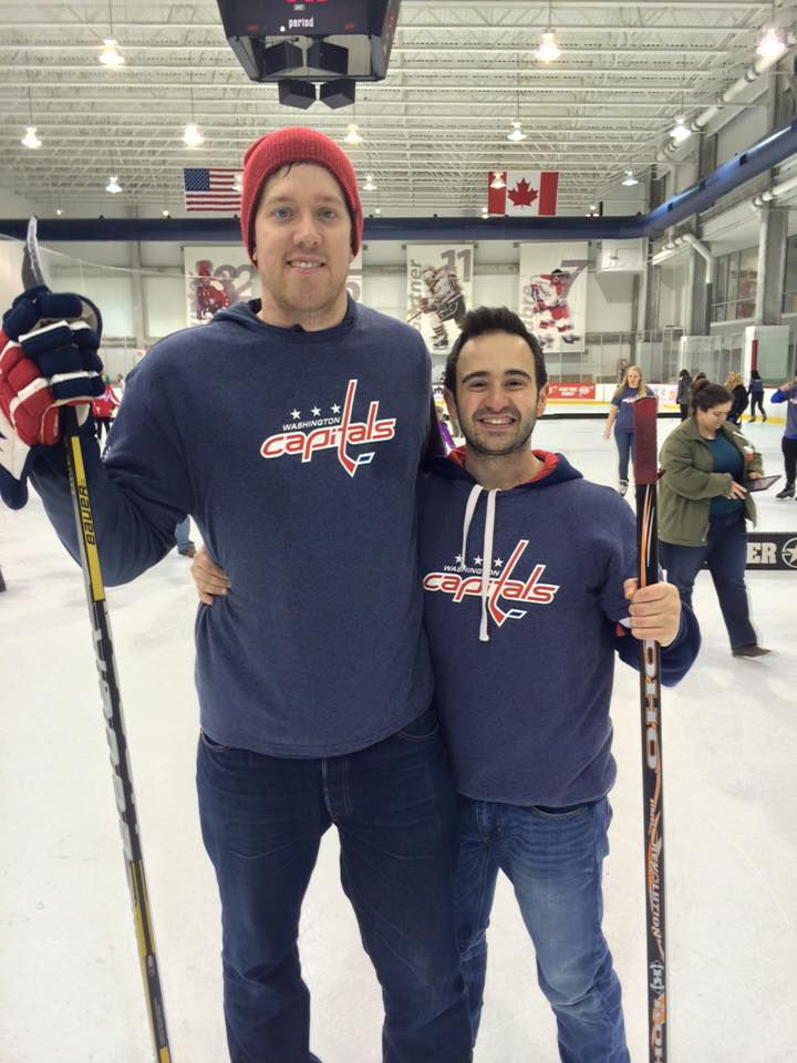 Japers' Rink's tallest and shortest contributors: Brendan Sheridan and Jason Rogers
