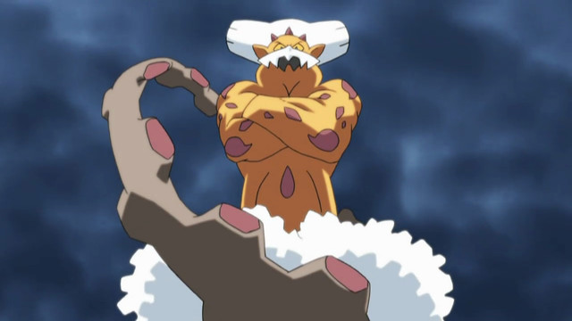 Landorus floats in a cloudy sky with its arms crossed