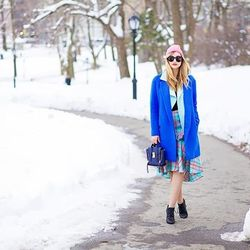 """Liz of <a href=""""http://www.lateafternoonblog.com""""target=""""_blank"""">Late Afternoon</a> is wearing a Tibi coat, a Zimmermann skirt, an Armani sweater, a Cameo vest, an American Apparel beanie, Kenneth Cole shoes and a 3.1 Phillip Lim bag."""