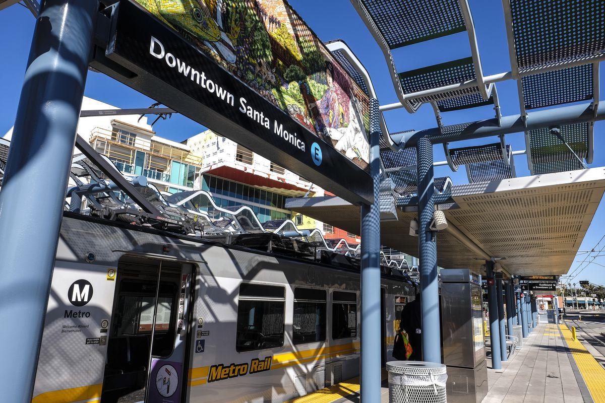 Train arriving in Downtown Santa Monica