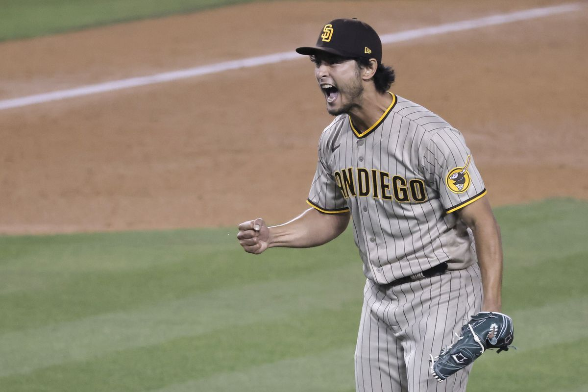 Yu Darvish of the San Diego Padres reacts after closing out the seventh inning against the Los Angeles Dodgers at Dodger Stadium on April 23, 2021 in Los Angeles, California.