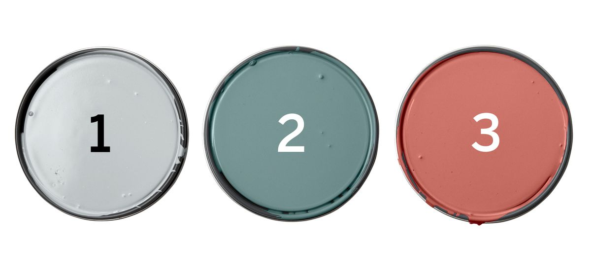 Benjamin Moore Paints: Palace Pearl; Williamsburg Wythe Blue; Claret