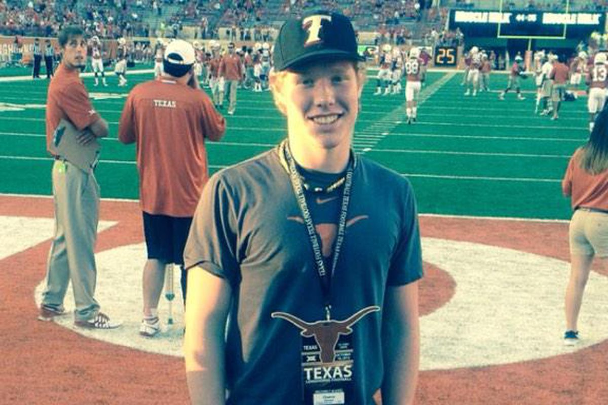 Victoria East sophomore Chance McLeod at the Texas-Iowa State game on October 18, 2014