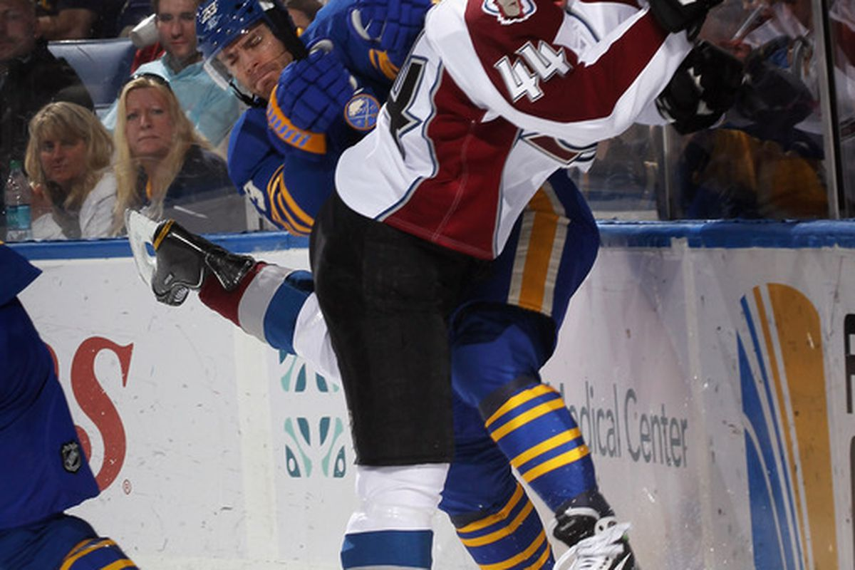 BUFFALO, NY - MARCH 14: Ryan Wilson #44 of the Colorado Avalanche checks Ville Leino #23 of the Buffalo Sabres at the First Niagara Center on March 14, 2012 in Buffalo, New York.  (Photo by Bruce Bennett/Getty Images)