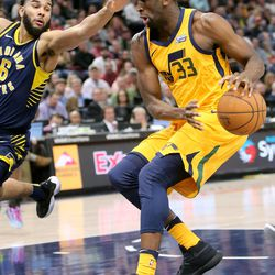 Utah Jazz center Ekpe Udoh (33) moves around Indiana Pacers guard Cory Joseph (6) during a basketball game at the Vivint Smart Home Arena in Salt Lake City on Monday, Jan. 15, 2018. The Jazz lost 94-109.