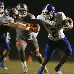 Skyridge and Bingham play in a high school football game at Skyridge High School in Lehi on Friday, Aug. 21, 2020.