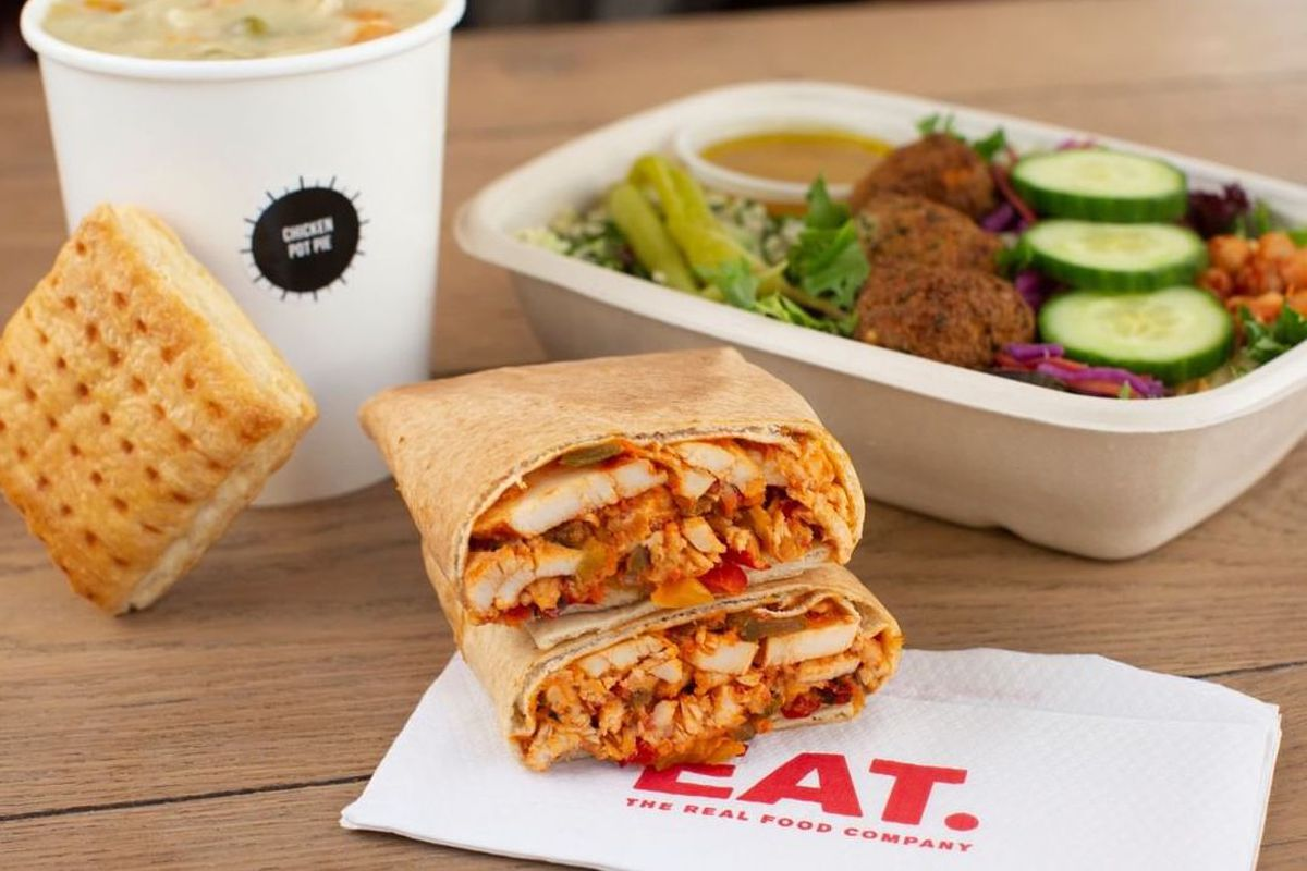 Eat's chicken pot pie, houmous and falafel mezze, and firecracker chicken flatbread are facing off for a place on Pret's menu
