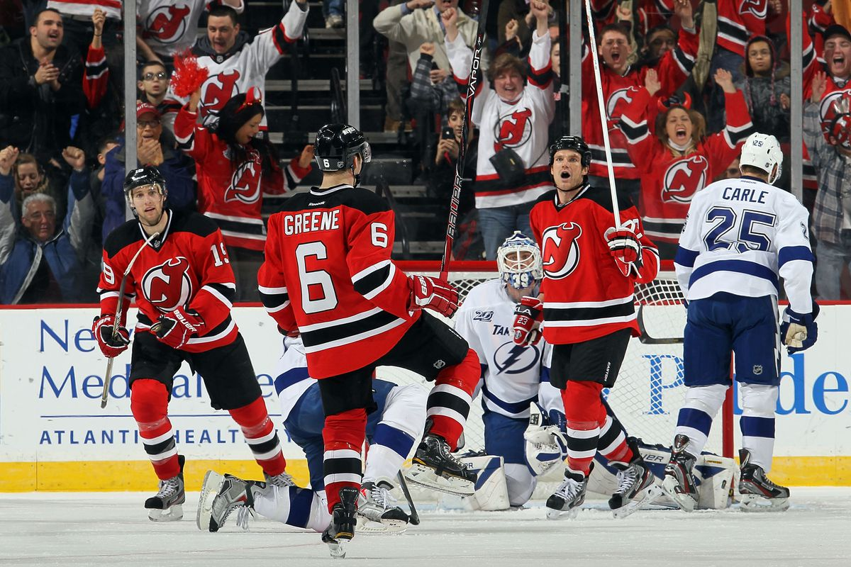Pictured: Celebrating one of the ten power play goals scored by the New Jersey Devils this season.