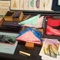 Where else could you find hand-dyed handkerchiefs amidst one-of-a-kind stationery?