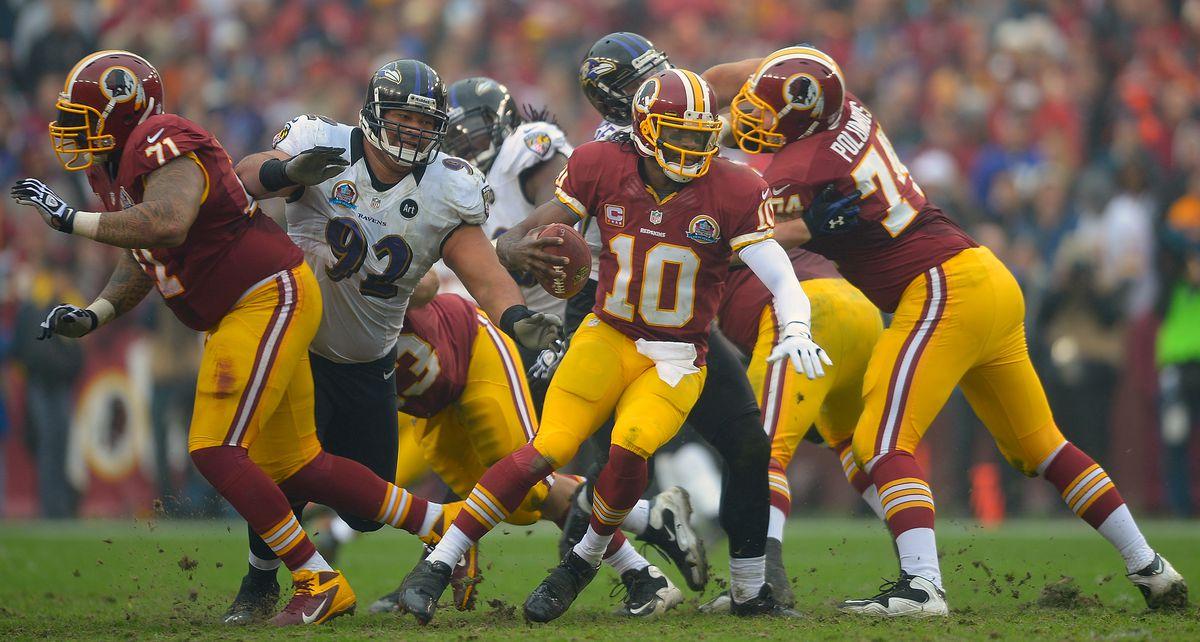 The Washington Redskins play the Baltimore Ravens
