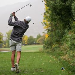 Spanish Fork's Jackson Rhees hits a tee shot on his way to placing first in individual competition at the 5A boys state golf tournament at The Oaks at Spanish Fork in Spanish Fork on Tuesday, Oct. 5, 2021.