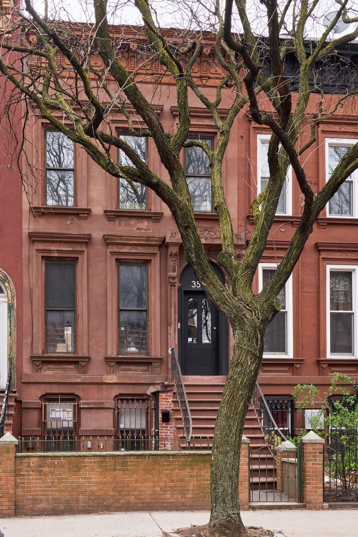 A brownstone facade.