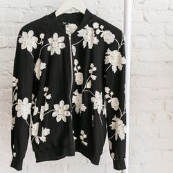 """Babel Fair embroidered flower bomber,  <a href=""""http://www.shoptiques.com/products/embroidered-flower-bomber"""">$169</a>"""