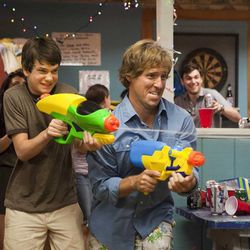 """Liam James as Duncan and Nat Faxon as Roddy in """"The Way Way Back."""""""