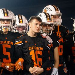 """Ogden High football players listen to coach Erik Thomson during the halftime of a high school football game billed as """"Erik Thompson Night"""" on Friday, Sept. 3, 2021, at Ogden High School in Ogden."""