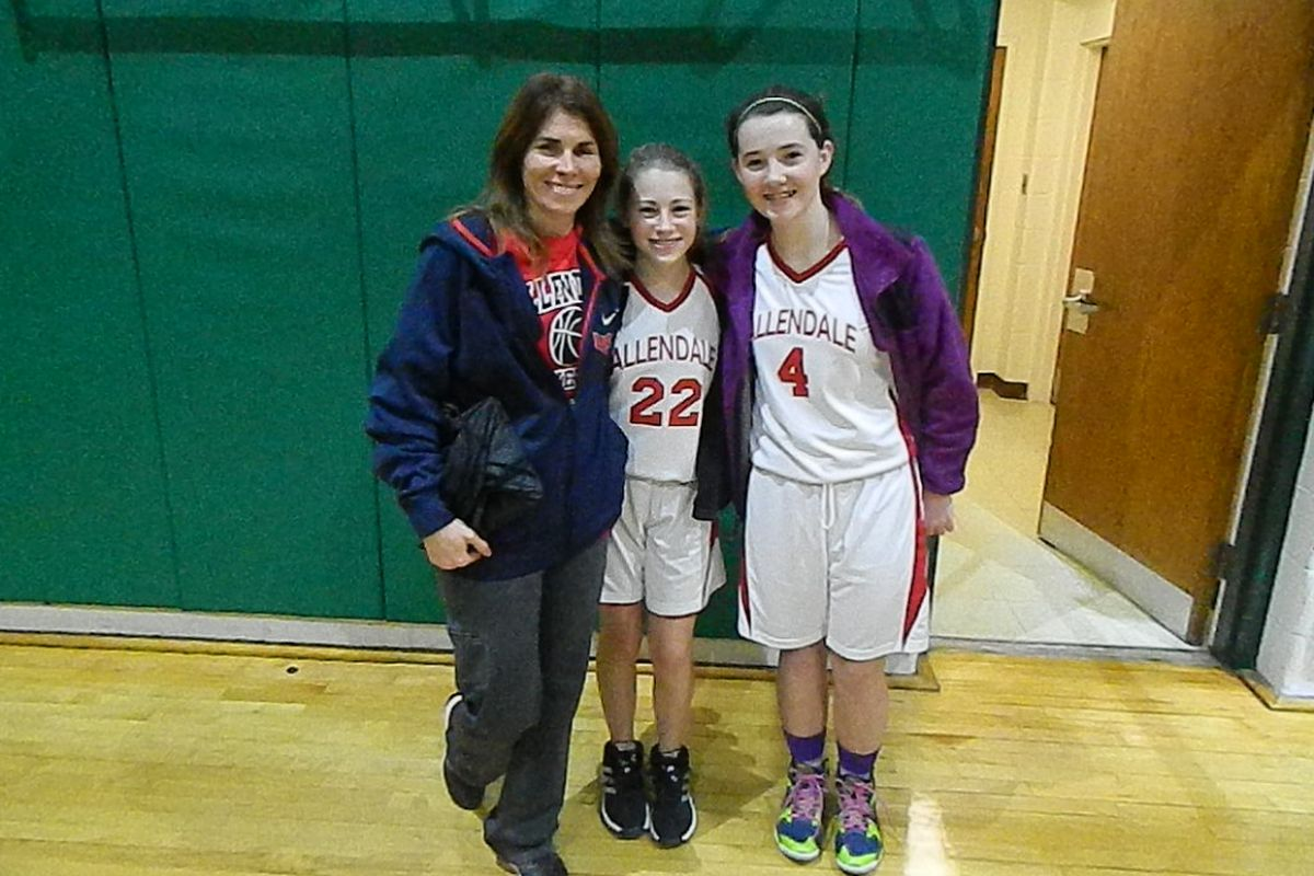 Pam Healy Costello, a former Providence College player with two of her Allendale girls.