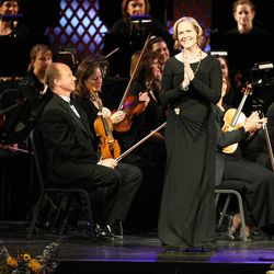 Rebecca Luker sings with the Mormon Tabernacle Choir during Golden Days, A Celebration of Life, in honor of President Thomas S. Monson's 85th birthday at the LDS Conference Center in Salt Lake City on Friday, Aug. 17, 2012.