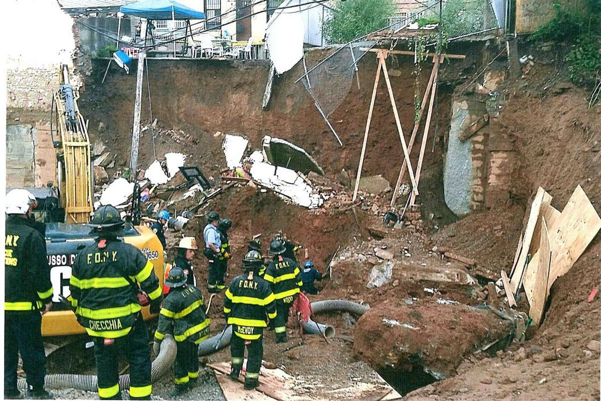 Rescue workers comb through the collapsed Sunset Park, Brooklyn, construction site where Luis Sánchez Almonte died in September, 2018.