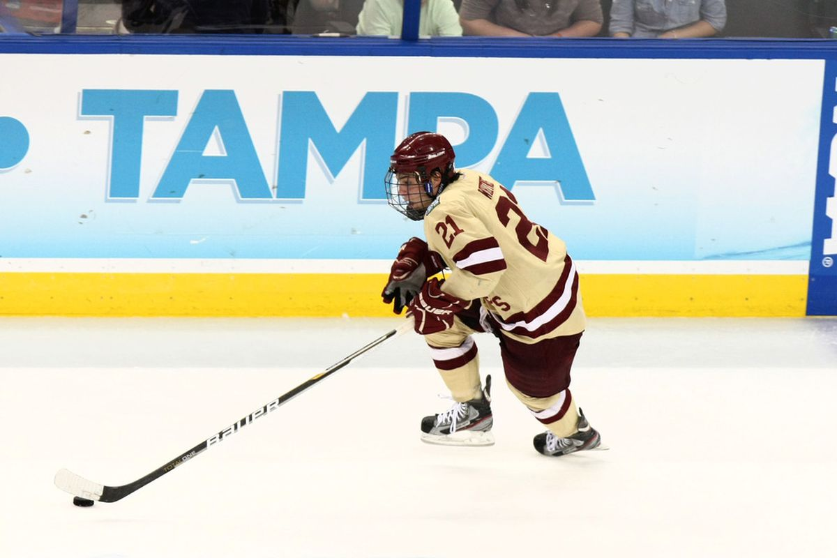 BC senior forward Steven Whitney carrying the puck at last year's Frozen Four in Tampa.