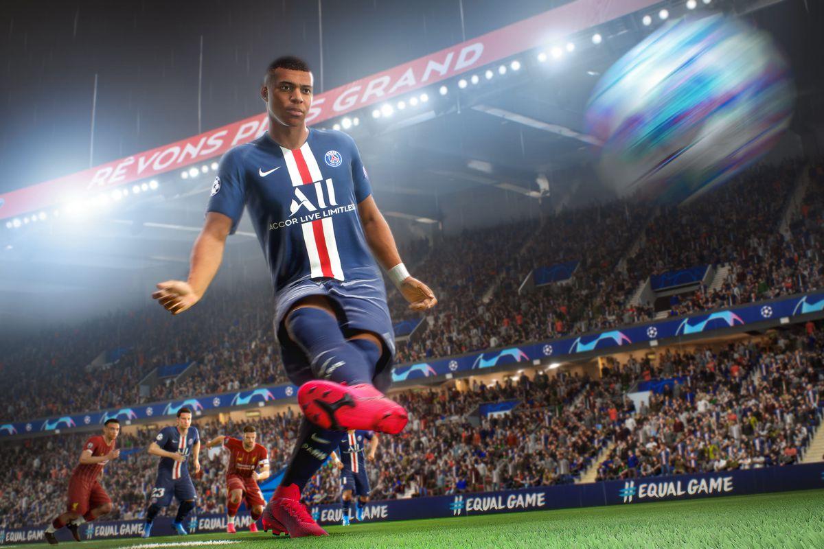 Kylian Mbappé taking a penalty kick in FIFA 21