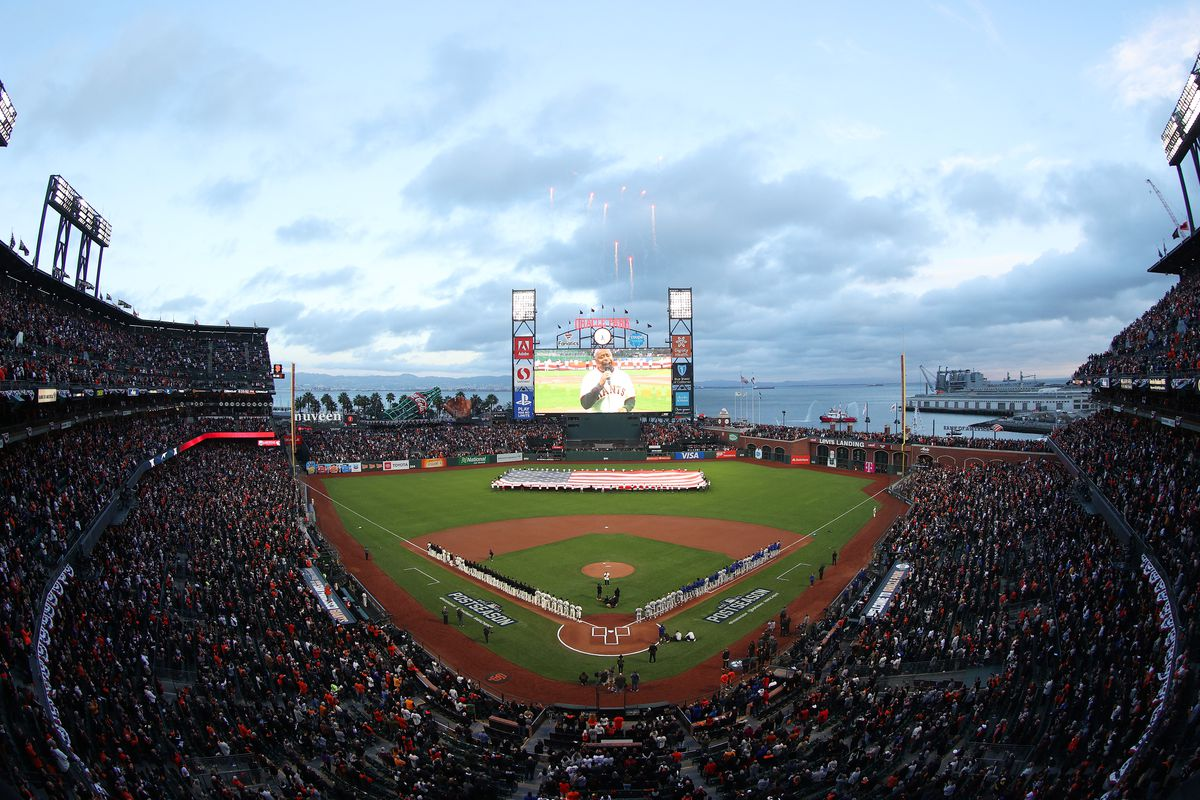 A general view of Oracle Park prior to Game 1 of the National League Division Series between the San Francisco Giants and the Los Angeles Dodgers on October 08, 2021 in San Francisco, California.