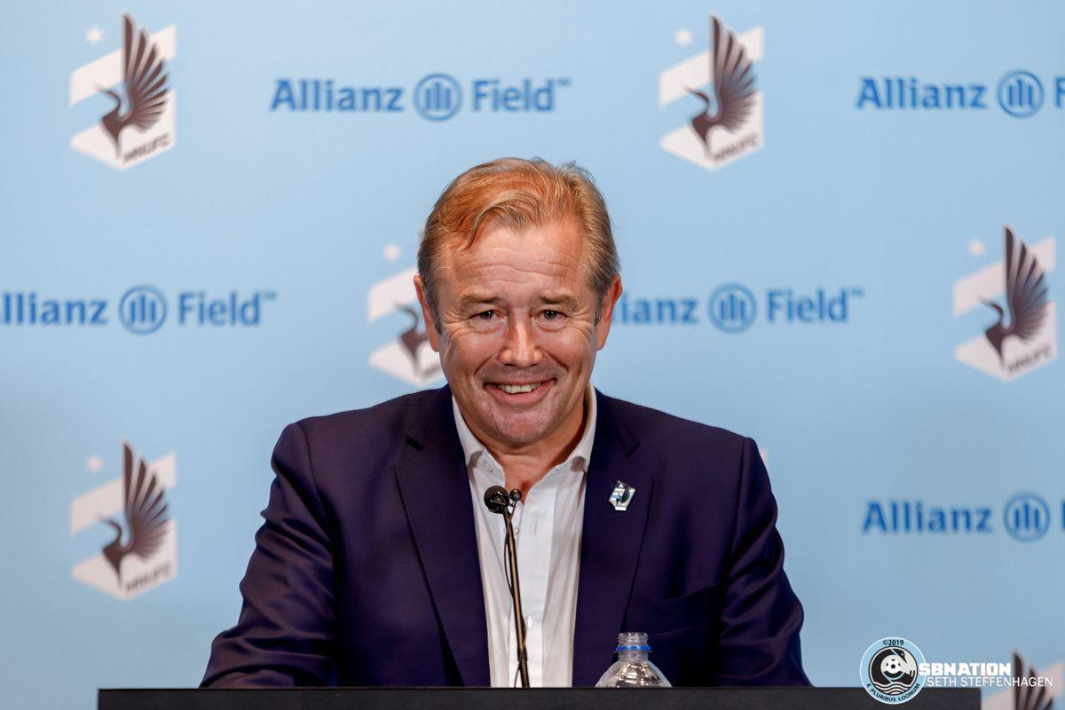 June 29, 2019 - Saint Paul, Minnesota, United States - Minnesota United head coach Adrian Heath cracks a smile  at the post match press conference as Minnesota United defeated FC Cincinnati 7-1 at Allianz Field.