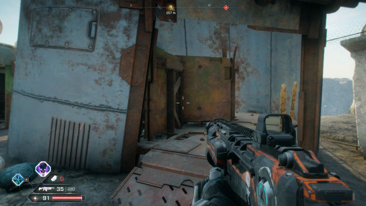 The entrance to a bathroom in Rage 2