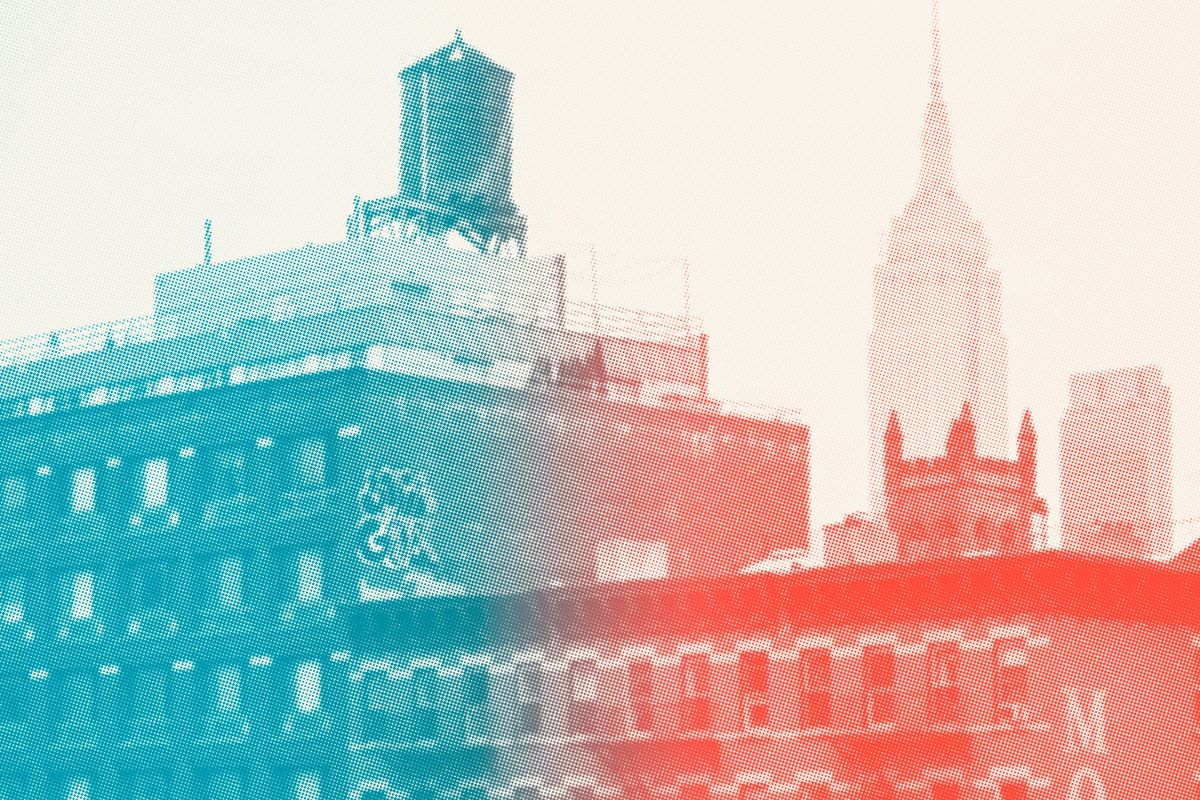Two New York City apartment buildings with the Empire State Building in the background. The image is filtered in red and blue.