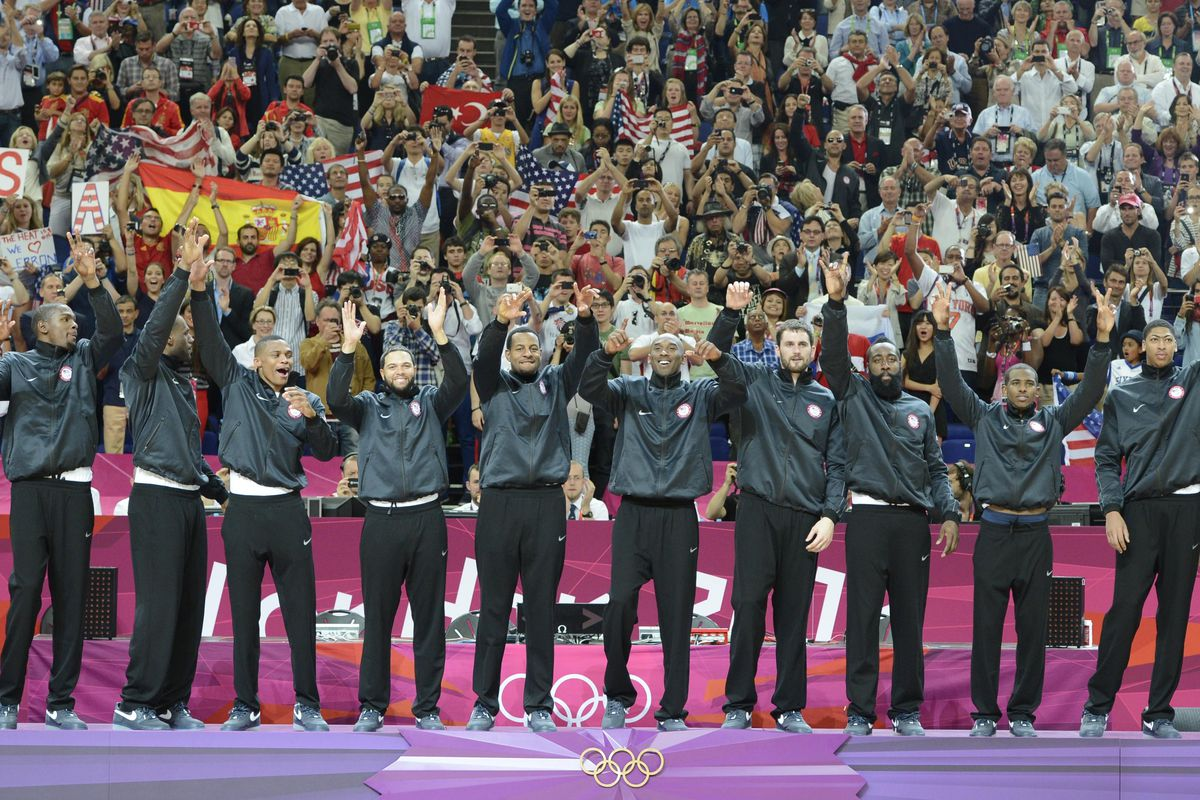 Aug 11, 2012; Team USA celebrates on the podium after winning the gold in the men's basketball final against Spain in the London 2012 Olympic Games. Credit: Bob Donnan-USA TODAY Sports
