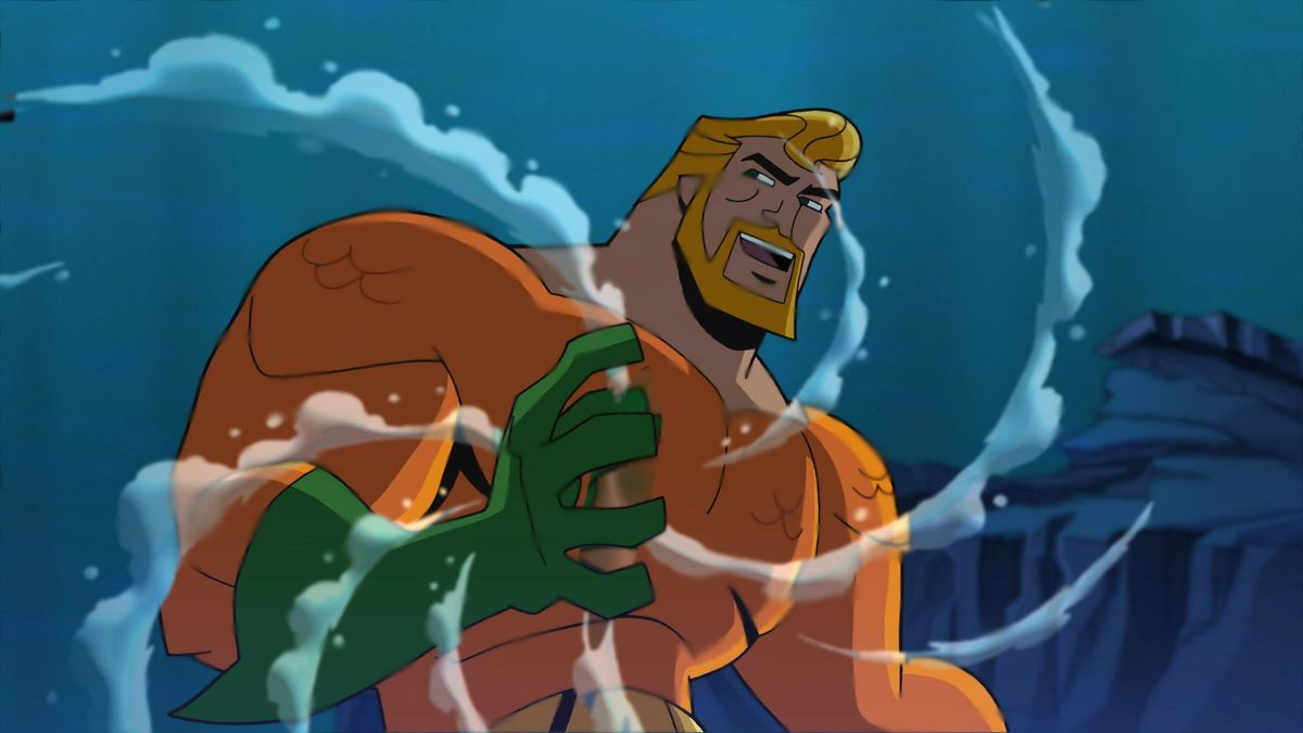 Aquaman from the animated Justice League, with water swirling around one hand
