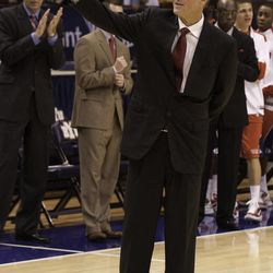 Fresno State basketball head coach Steve Cleveland waves to the crowd in the Marriott Center in Provo, Utah in 2010. Cleveland, who coached at BYU, has been serving as an LDS mission president since July.