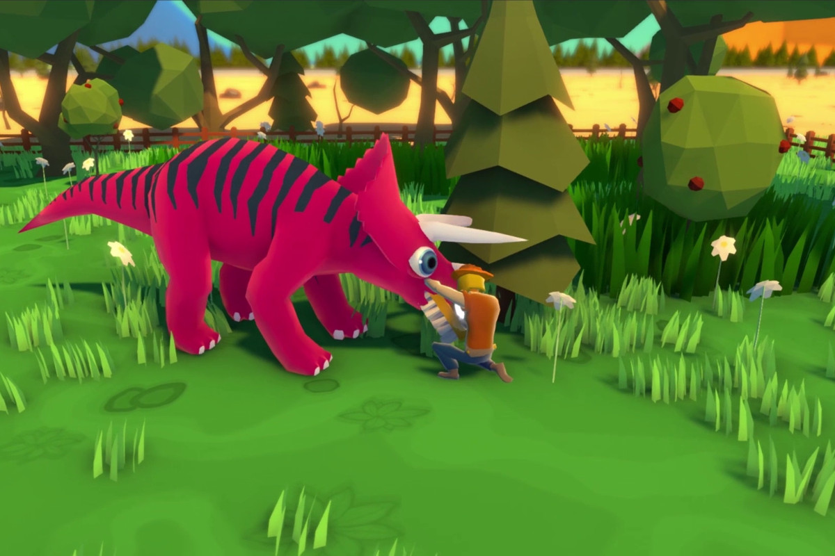 A Parkasaurus veterinarian tends to a troubled dinosaur