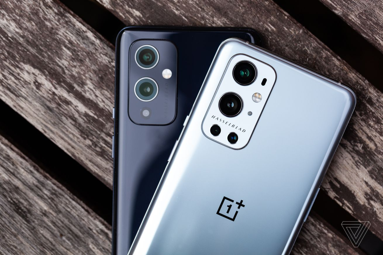 The OnePlus 9 Pro (top) and OnePlus 9
