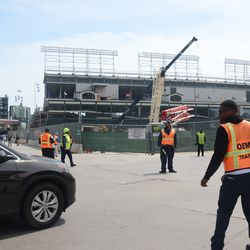 11:52 a.m. Traffic aides at the corner of Clark & Waveland -