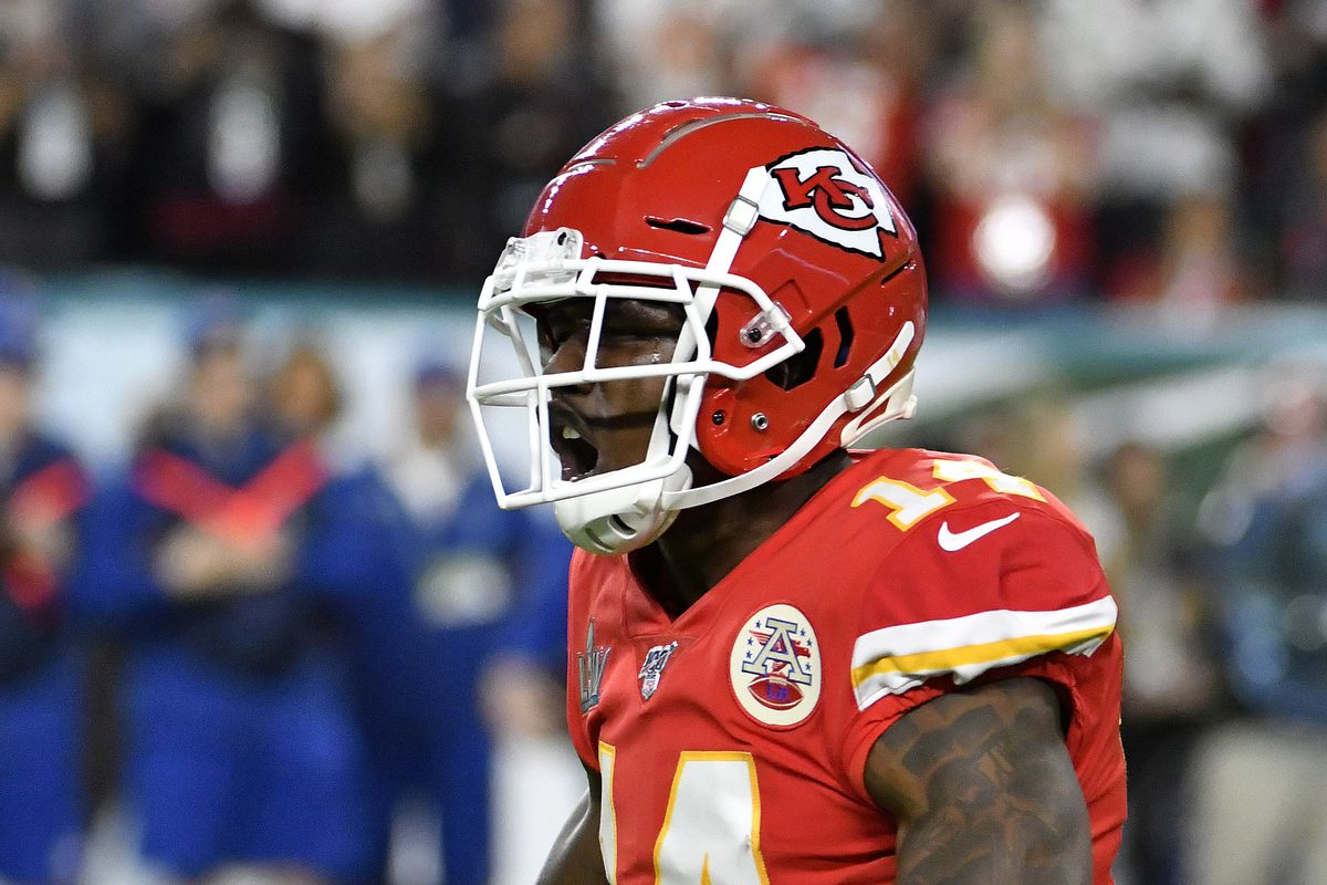 Sammy Watkins of the Kansas City Chiefs celebrates after making a play against the San Francisco 49ers in Super Bowl LIV at Hard Rock Stadium on February 02, 2020 in Miami, Florida. The Chiefs won the game 31-20.