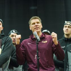 Ramblers Coach Porter Moser addresses fans. | Tyler LaRiviere/Sun-Times