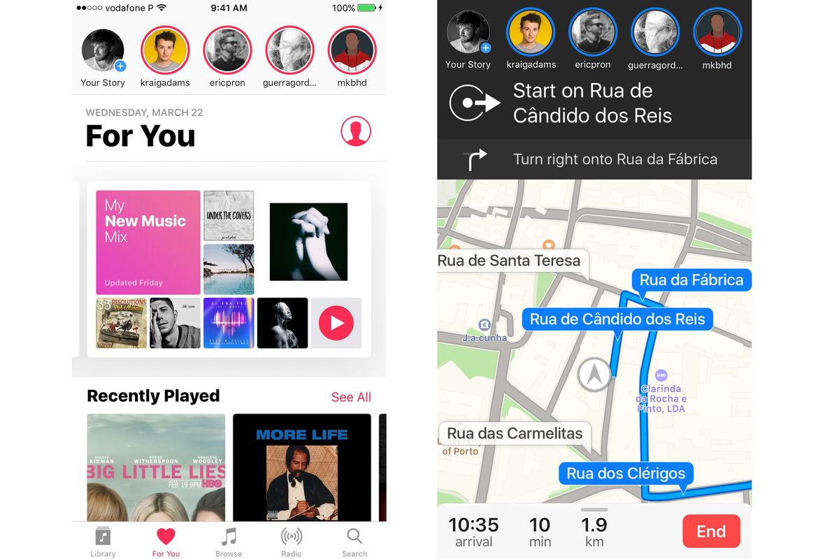Apple Music Stories and Apple Maps Stories mockups by Rafael Conde