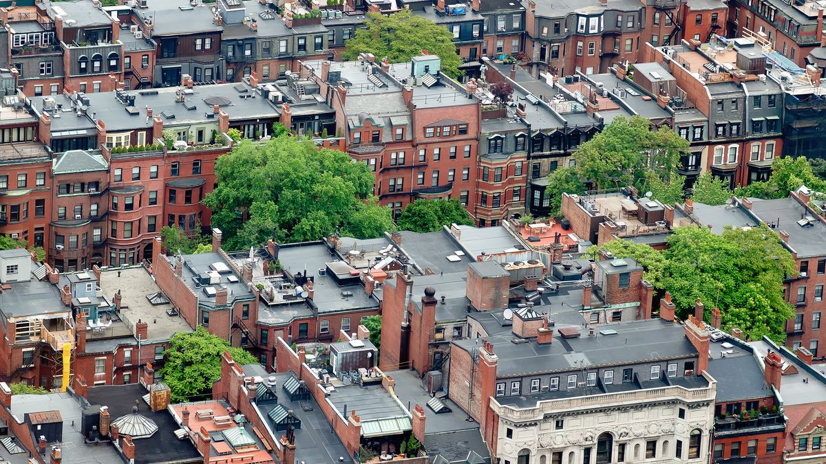 Aerial view of Back Bay brownstone homes in Boston.